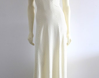 70's Vintage Petite Polk-a- Dot Empire Short Sleeve Femme Festival Dress
