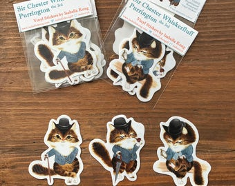 Dapper Cat Vinly Stickers (Set of 3)