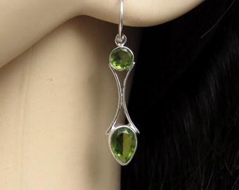 Peridot Silver Earrings, Green Peridot Jewelry, Olivine Earrings, Chrysolite, August Birthstone, Gift for Her