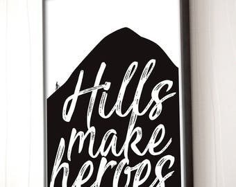 Gift for cyclist - Hills Make Heroes - Road bike art