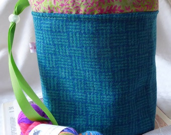 Knitting Bag, Knitting Project Bag, Sock Project Bag in Harris Tweed