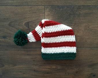 Crochet elf hat, baby elf hat, baby santa hat, baby shower gift, 0-3 month baby gift, newborn photo prop, elf hat red green pom, baby gift