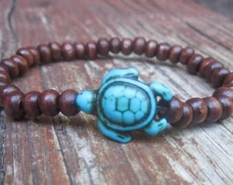 turtle bracelet brown wooden beads turquoise stone sea turtle jewelry yoga beaded bracelet mens bracelet women's boho stretch bracelets
