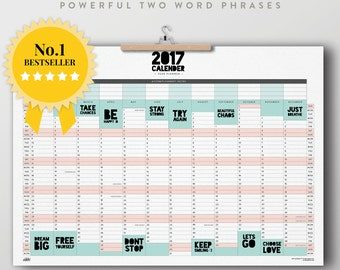 2017 A2, A1 Large Wall Planner. Powerful Two Word Phrases. Bestseller. Print Poster