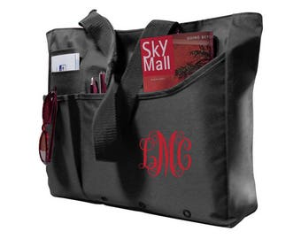 Super Feature Tote SHIPS FREE! Black, Navy, Tan, Blank, Monogram, Wedding Gift, Bridal Shower, Bridal Party Gift, Vacation, Office, Carry on