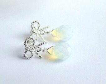 Moonstone earrings, opalite drop earrings, teardrop earrings, silver bow earrings, bridal earrings, wedding jewelry, italian jewelry