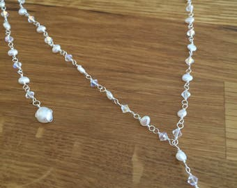 Backdrop bridal necklace Freshwater pearl and Swarovski crystal rosary pearl drop necklace bridal jewelry, back drop wedding jewellery gift