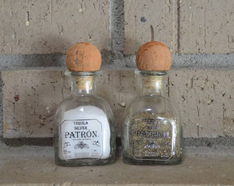 Pair of Glass Upcycled Mini Patron Salt and Pepper Shakers