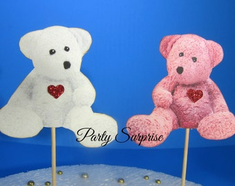 Pink and White Teddy Bear Cupcake Toppers Girl Baby Shower Teddy Bear Decoration Pink Teddy Bear White Teddy Bear Cupcake Toppers