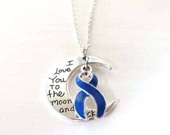 Blue Awareness Ribbon I Love You To the Moon and Back Charm Necklace You Select Chain Material and Length