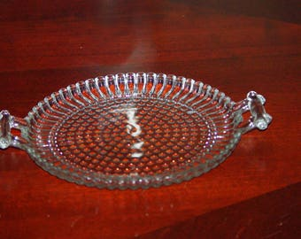 Vintage Relish Tray w Handles, Glass Round Serving Dish w Handles, Hobnail Design, 1960's