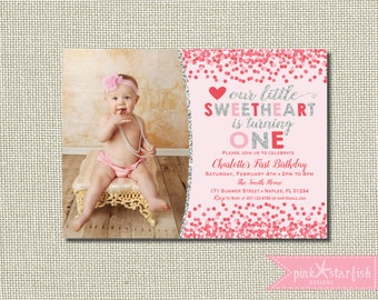 Heart Birthday Invitation, Valentine Invitation, Hearts Invitation, Valentines Day Invitation, Sweetheart Invitation, Pink, Glitter, Glam