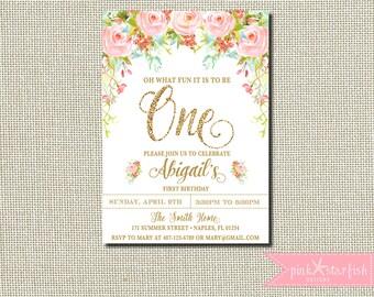 First Birthday Invitation, Rose Birthday Invitation, Pink and Gold Birthday Invitation, Gold Glitter, Glam, Blush, Flowers, Digital