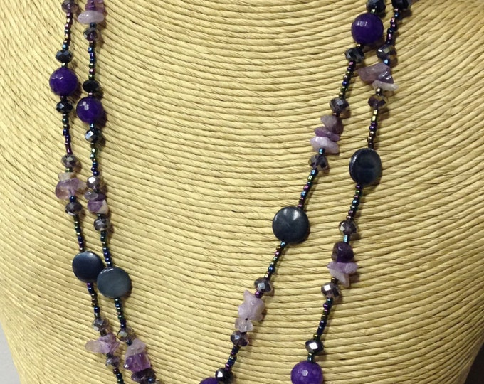 Downton necklace - coloured glass beads, mixed with faceted black glass beads, crystal chips and river shell.