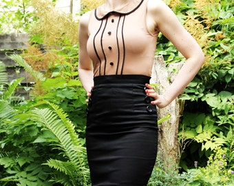"Black Rockabilly Retro Pencil Skirt, ""Vixen"" M"