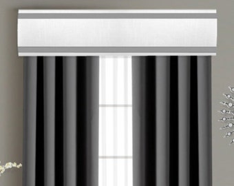 Ribbon Cornice Board Pelmet Box Window Treatment in White with Gray Stripe Trim - Custom Curtain Topper Box Valance
