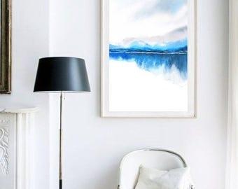 Landscape Painting, Watercolor Painting Print, Nature Print,Modern Landscape Print,Mountain Art,Blue Wall Decor,Lake, Grey Masculine Art,Zen