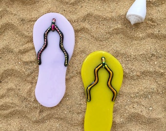 Fused Glass Flip Flop Ornament