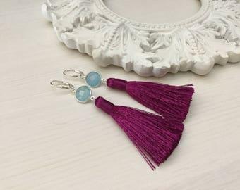 Chalcedony Tassel Earrings