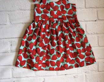 Strawberry Baby Dress, Red Girls Dress, Strawberries Infant Dress, Spring Summer Girls Dress, Fruit Baby Dress, Strawberry Girls Dress