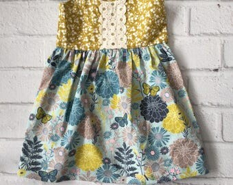 Boho Baby Dress, Vintage Style Dress Girls Dress, Mustard Blue Little Girls Dress, Toddler Girl Dress, Retro Dress, Sundress, Made To Order
