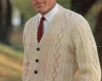 Man's Aran Style Cardigan, PDF Vintage Knitting Pattern No. 4325.