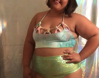 Holographic high waist bottoms   made to order   rave festival fashion   plus size