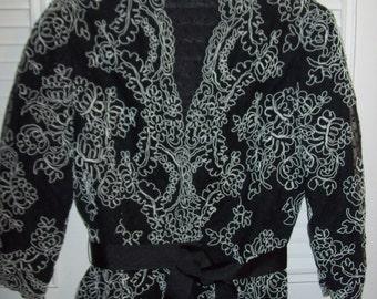 Vintage Victor Costa Evening Belted Embroidered Jacket Size 6 see details