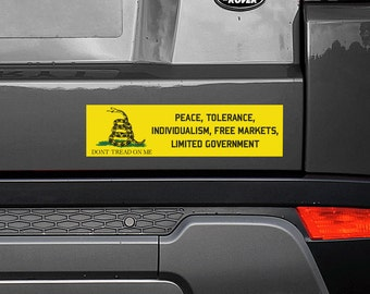 "Peace, Tolerance, Individualism, Free Markets, Limited Government Gadsden Flag 11.5""x3"" Bumper Sticker Decal"