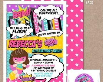 Girl Superhero Invitation, Girl Superhero Party, Comic Book, Girl Superhero Birthday, Pink, Purple, Blue, Yellow, #0020
