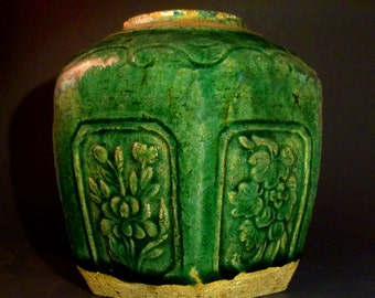 Green Hexagonal Ginger Jar-Antique-Chinese- Ming Dynasty- Shiwan-Rustic-Vase-19th Century-Floral-Burial-Ginger-Jar-Pottery-Collectibles-Art