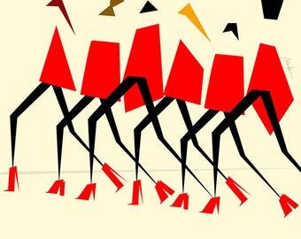 Dior Red Walking Legs by Monica Ahanonu