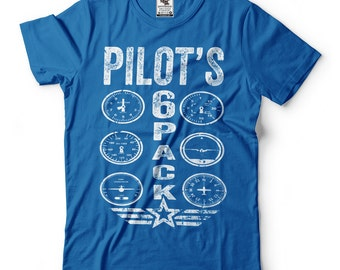 Pilot's Six Pack T-Shirt Funny Pilot Aviation Tee Shirt