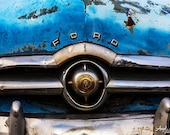 Old Car photo, blue, aqua, Vintage Ford, Americana wall art, retro car photo, Route 66, vintage car decor, fine art photography metal print