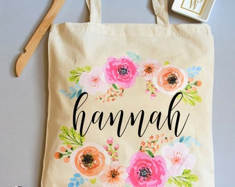 Bridesmaid Bags - Personalized Tote Bag - Floral Bridesmaid Totes - Bridal Party Maid of Honor Tote - Bridal Party Tote Bag