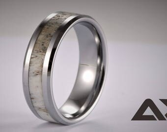 Antler Ring, Tungsten Carbide Antler Ring, Mens Ring, Womens Ring, Wedding Band, , Engraved Ring, Personalized Ring, Natural Antler Ring