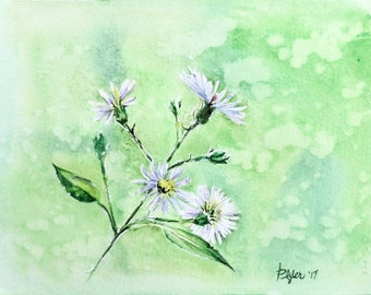 Original Watercolor Floral Painting | White Wildflowers w/ Green Background