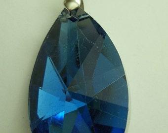 Cobalt Blue Glass Teardrop Pendant with 18K GP Clasp