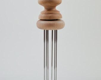 Wood 6 needle Felting Punch with easy needle replacement, Hand Felting Tool, Dry Felting Punch, Multi Felting Needle Hoder