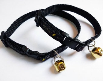 Adjustable breakaway cat collar, Harry Potter with gold coloured bell in adult or kitten sizes.
