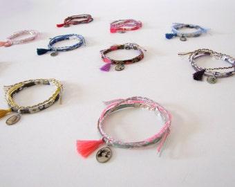 Set de trois bracelets liberty - bracelets de l'amitié - tresse - perles de rocaille - liberty of london