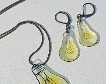 Bright Idea Glow in the Dark Light bulb - Necklace and Earring Set - SALE