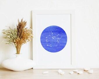 Sagittarius, Print Wall Art | Astrology Art, Art Gift, Blue Wall Art, Circle Home Decor, Kids Wall Art, Constellation Sagittarius,Zodiac Art