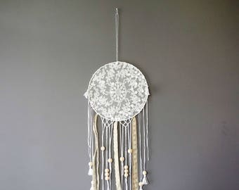 Off white dreamcatcher with lace, macrame and pompoms