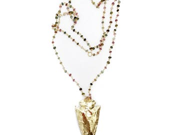 gold arrowhead + tourmaline necklace