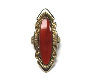Vintage 12K Gold Filled Carnelian Ring Size 7.5 Bell Trading