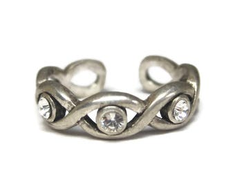 Vintage 90s Sterling Cubic Zirconia Toe Ring