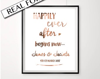 Happily ever after begins now / Copper Foil Wedding Sign / Love Quote Print / Personalised wedding signage / Custom wedding love print