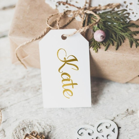 Personalized name gold foil gift tag / gold foil christmas gift ...