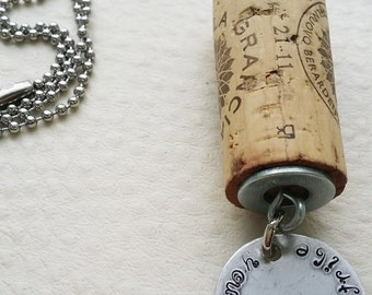 Personalized Cork Necklaces, Wine Cork Necklace, Upcycled Necklace, Upcycled Wine Cork Jewelry